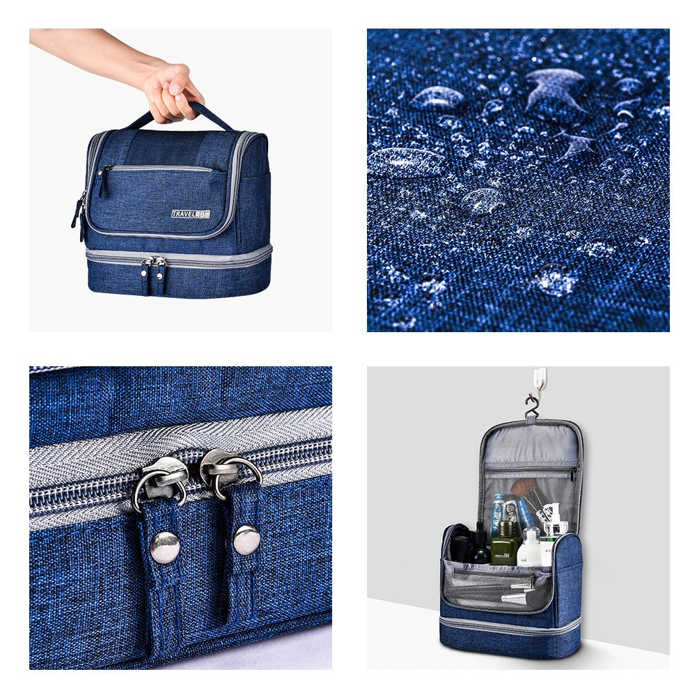 Toiletry Bag Hanging Travel Toiletry Organizer Kit with Hook and Handle Waterproof Cosmetic Bag Dop Kit for Men or Women (Navy Blue) by NICEPACK (Image #5)