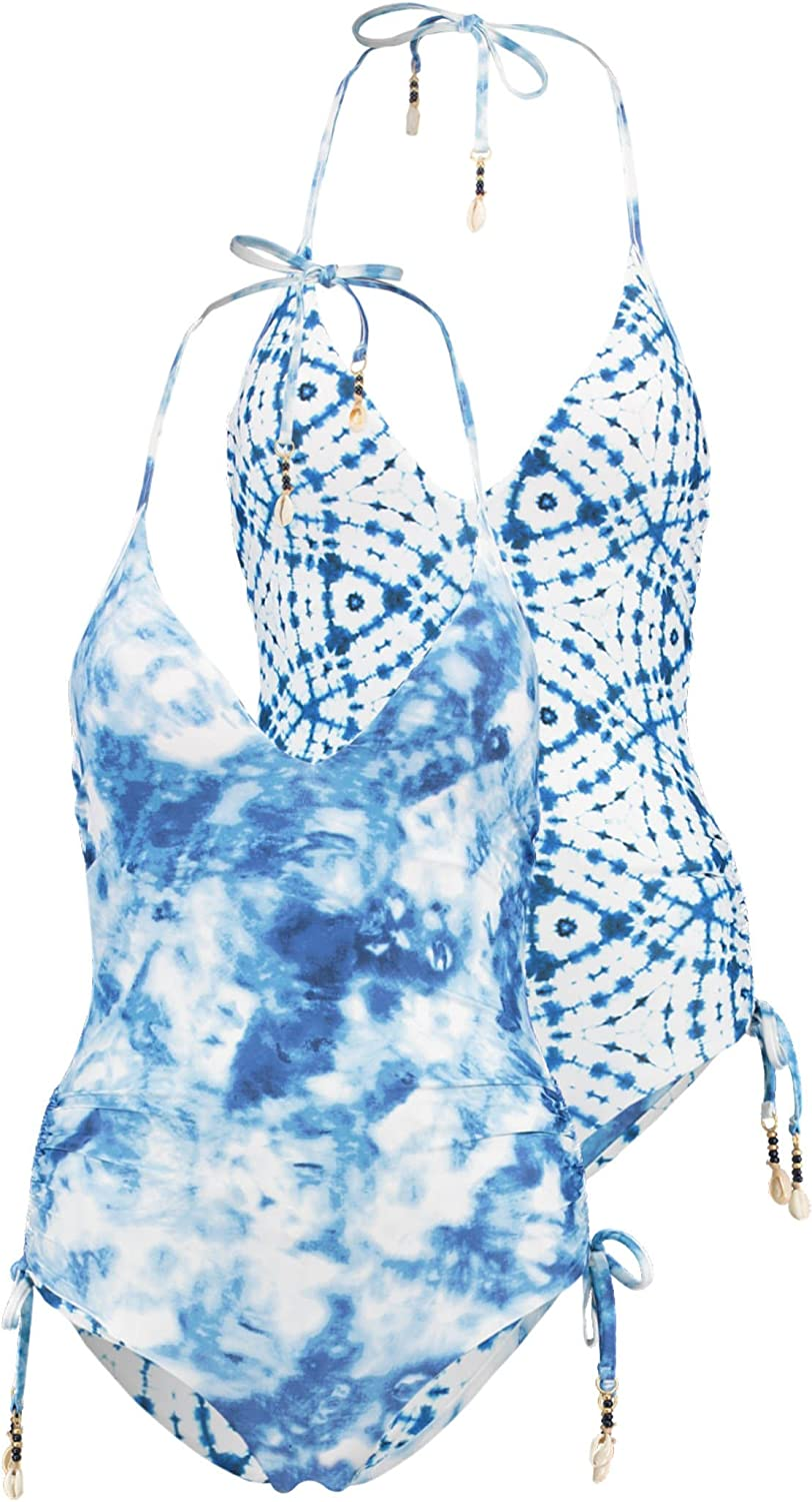 Seafolly Womens Patterned Deep V One Piece Swimsuit