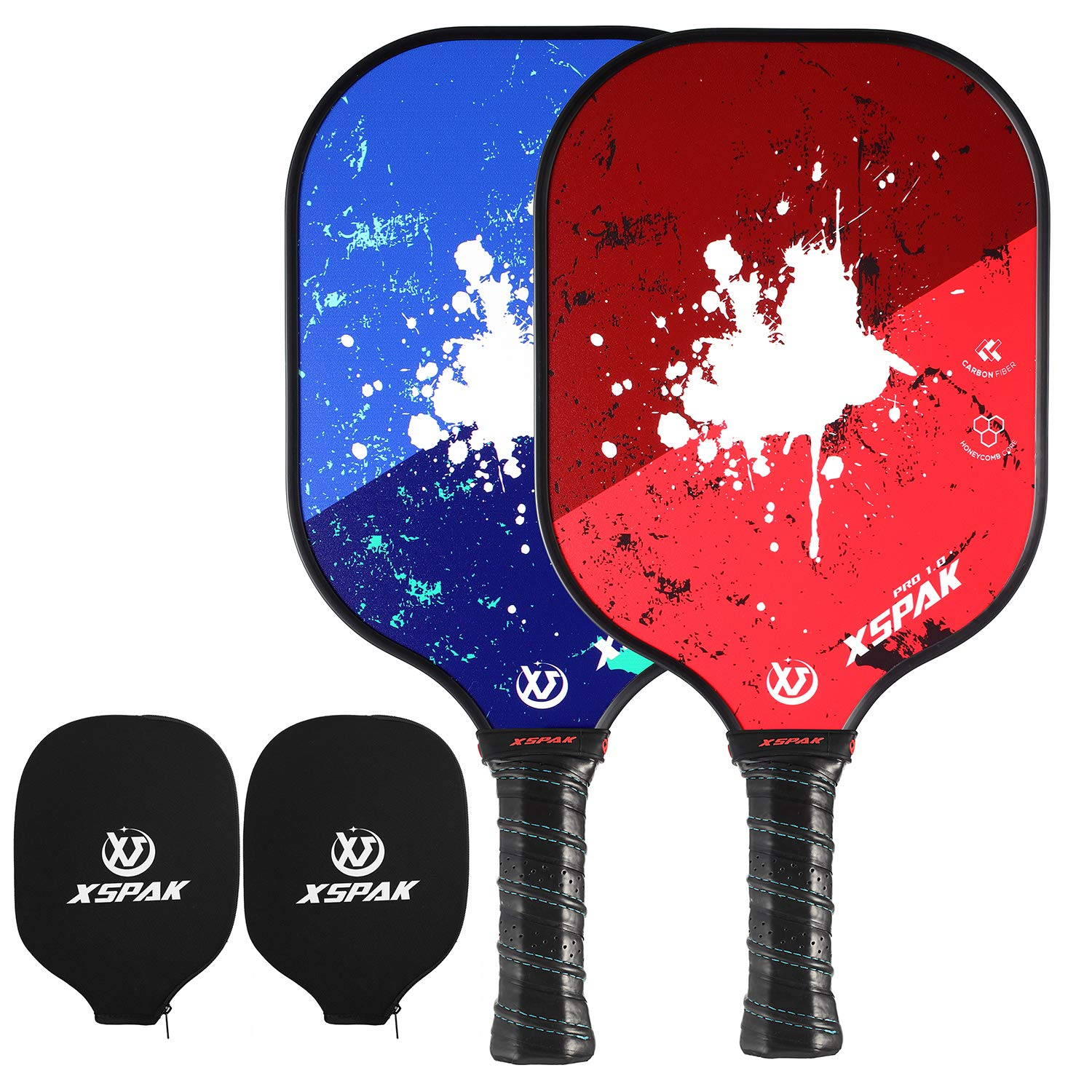 XS XSPAK Pickleball Paddle Set of 2 - Lightweight Graphite/Carbon Fiber Face & Polypropylene Honeycomb Composite Core Paddles Sets Including Racket Cover, USAPA Approved by XS XSPAK