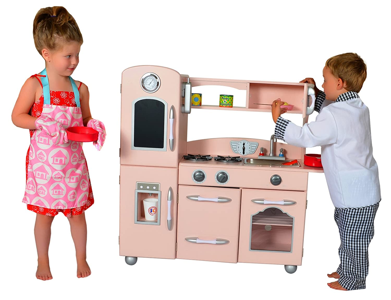 1 Piece My Little Chef Teamson Kids Wooden Play Kitchen Set One Size Red