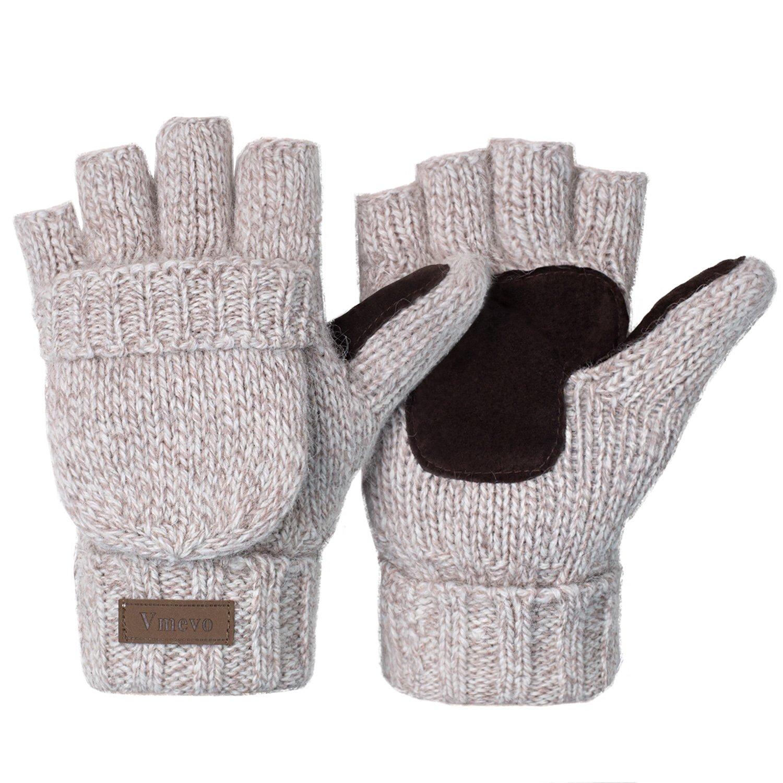 Vmevo Winter Knitted Convertible Fingerless Gloves Unisex Warm Wool Mitten Glove