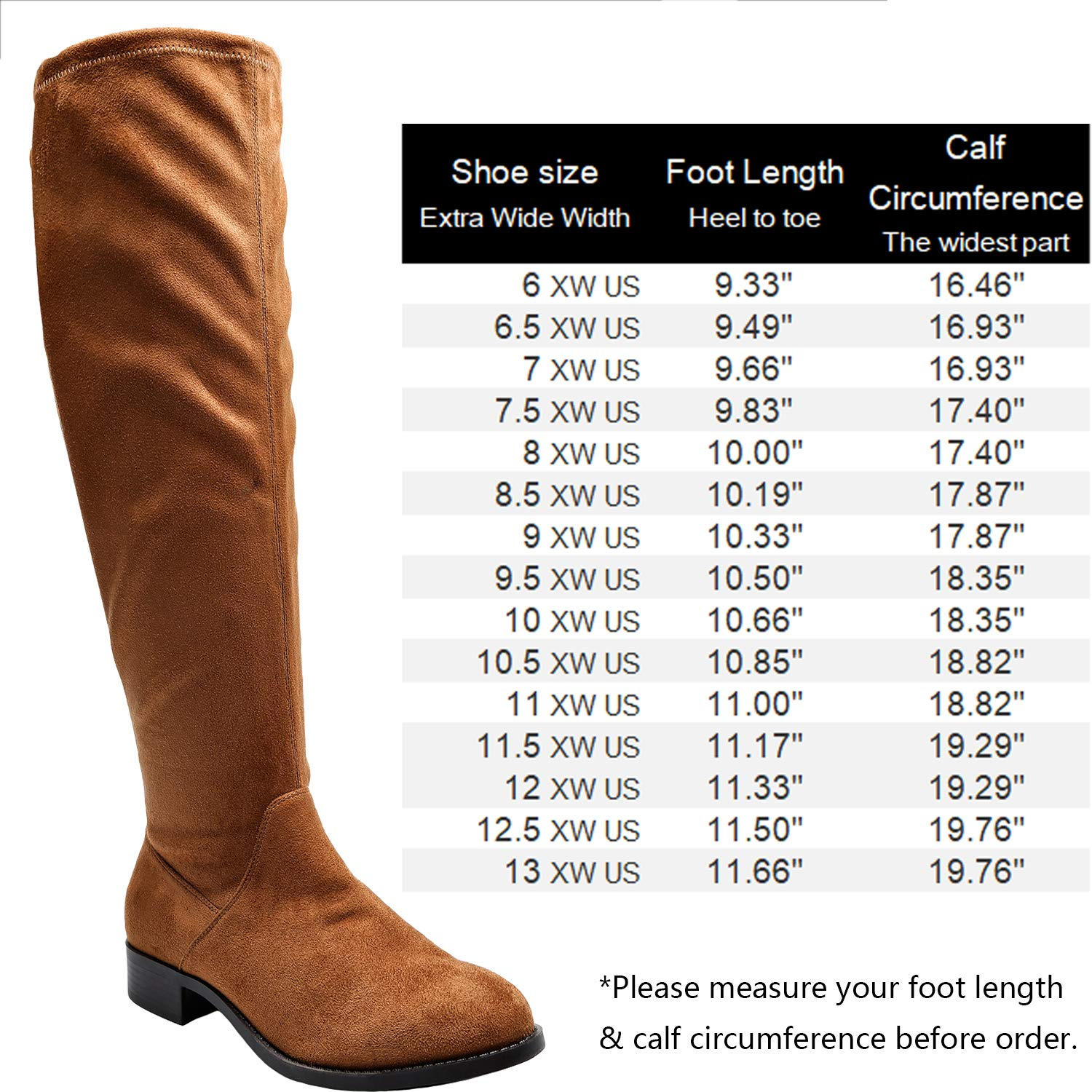browse latest collections select for original special price for Women's Wide Width Over The Knee Boots - Stretchy Low Stacked Heel Vegan  Suede Pull on Back Tie Boots.(Wide Calf)