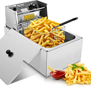 Electric Deep Fryer with Basket & Lid, 1700W 6L Stainless Steel Commercial Frying Machine, Countertop French Fryer with Temperature Control forHome Kitchen Restaurant