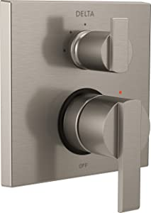 Delta Faucet T24867-SS, Stainless Ara Angular Modern Monitor 14 Series Valve Trim with 3-Setting Integrated Diverter