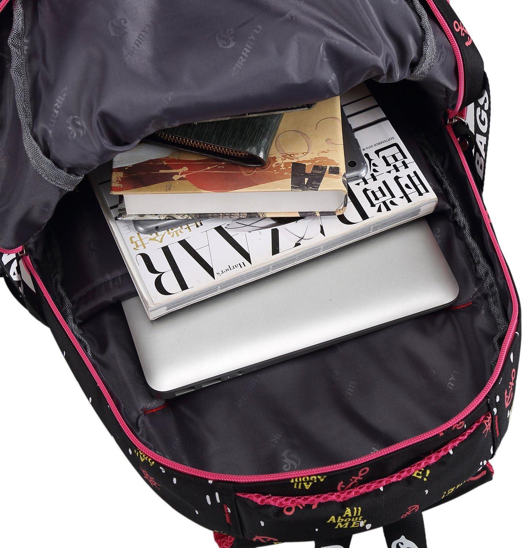 Noir cartable scolaire /à roulettes Sac d/école Sac /à dos /à roulettes nylon imperm/éable d/étachable pour fille