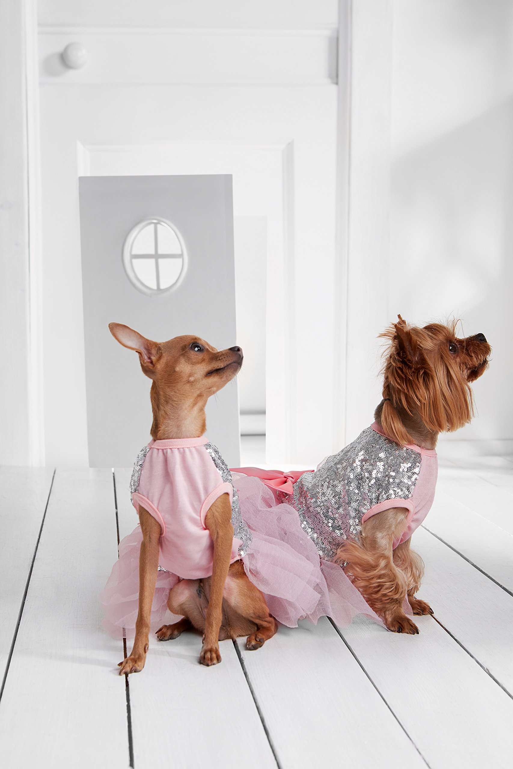 "Small Dog Tutu Dress With Sequins Satin Bow 3 Layer Skirt Bling Puppy Party Outfit (Toy Plus: 10"" / 5-9 lbs, Pink, Silver)"