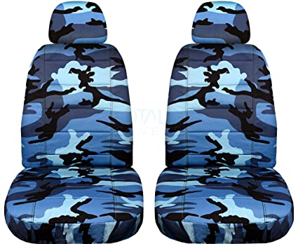 Camouflage Car Seat Covers W 2 Separate Headrest Blue Camo