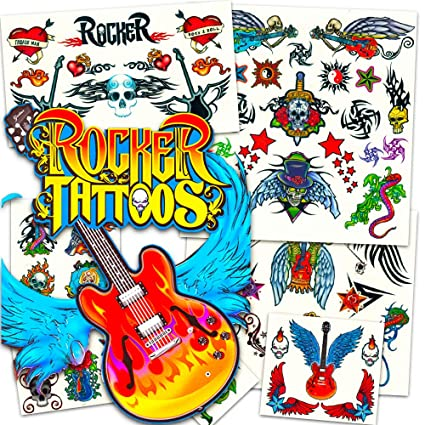 20967d3dca8a7 Amazon.com  Rock Star Temporary Tattoos Party Favor Set (58 Rocker  Tattoos)  Toys   Games