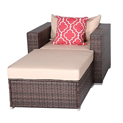 Do4U New 2 Pieces Patio Furniture Set | Outdoor PE Rattan Sofa | Wicker Sectional Furniture Set with Brown Seat Cushions & Glass Coffee Table| Patio, ...