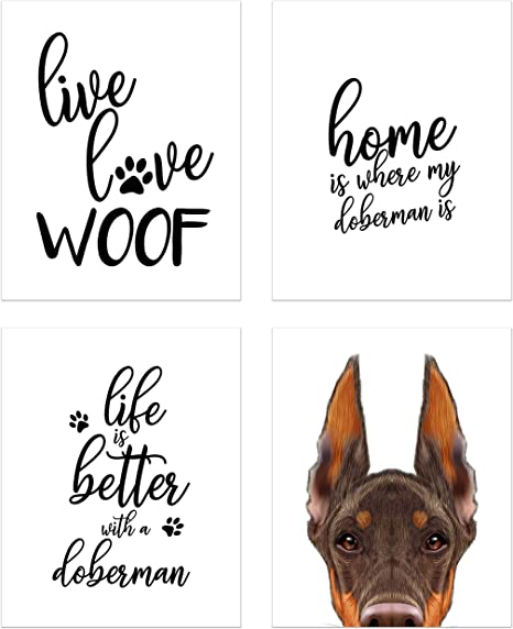 Summit Designs Doberman Wall Art Décor Prints Set Of 4 8x10 Unframed Poster Photos Dog Puppy Quotes Posters Prints