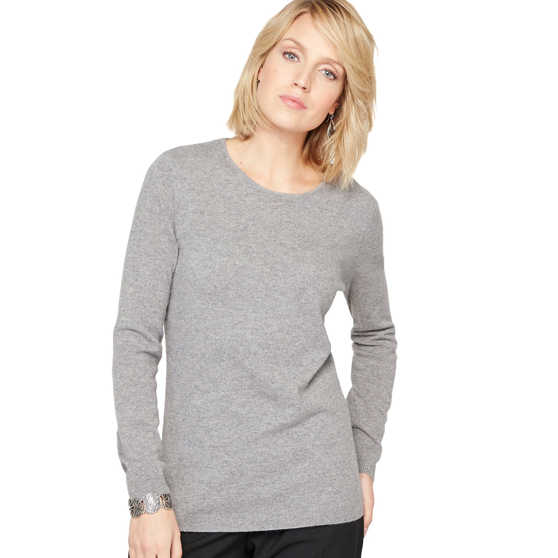 La Redoute Womens Fine Gauge Cashmere Knit Jumper/Sweater Grey Size Us 20/22 - Fr 50/52