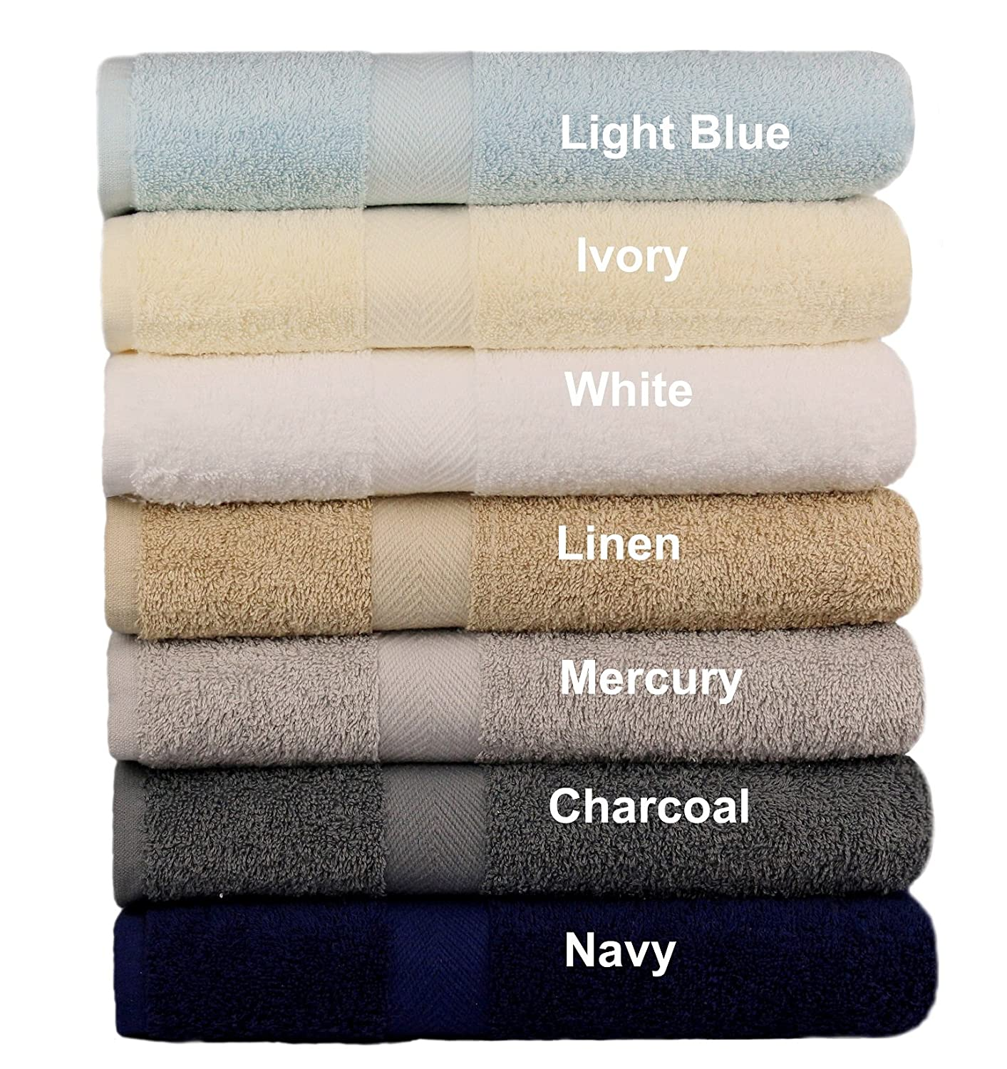 Cotton Craft - 7 Pack Multi Color Bath Towels - 100% Ringspun Cotton - 27x52 – Light Weight 450 Grams – Quick Drying and Highly Absorbent - Colors - Ivory, Light Blue, White, Linen, Mercury, Charcoal, Orient Originals Inc.