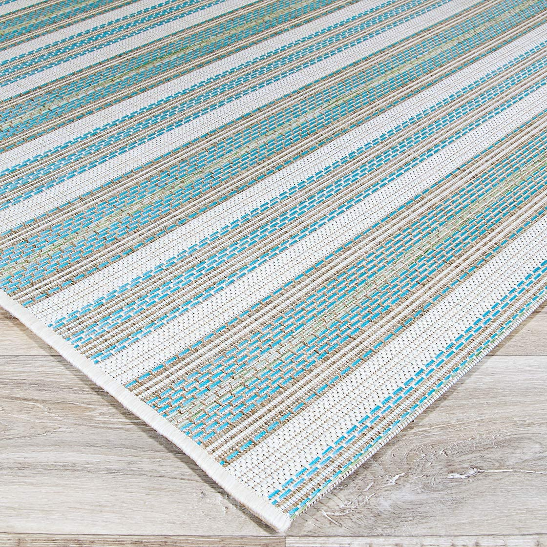Couristan Monaco Collection Marbella Rug, 2 by 3-Feet, Blue Mist Ivory