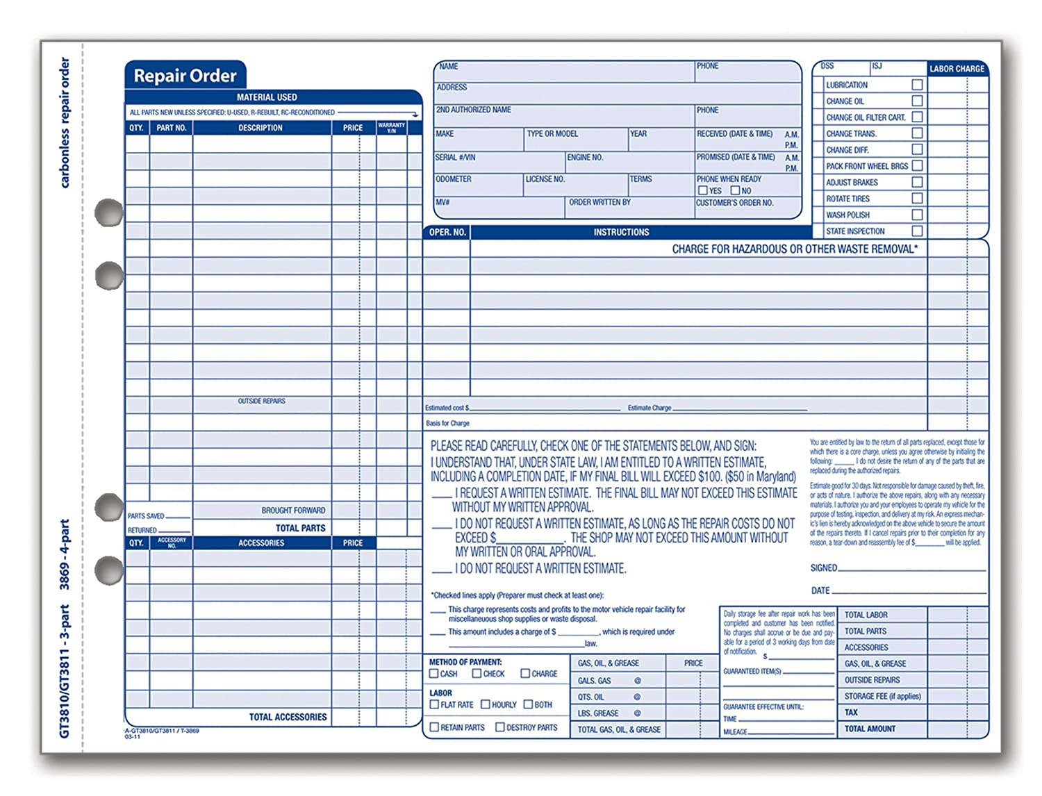 Amazoncom Adams Garage Repair Order Forms X Inches - Repair invoice template free online lighting stores