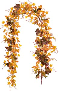 Artiflr 2 Pack Fall Garland Maple Leaf Vine, 6.5 Ft/Piece Hanging Vine Garland Artificial Autumn Foliage Garland Thanksgiving Decor for Home Wedding Fireplace Party