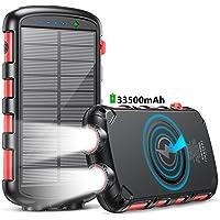 Power Bank 33500mAh,Cargador Solar Batería Externa Carga Rápida 25W,Cargador Solar con Carga Inalambrica 15W,5 Salidas…