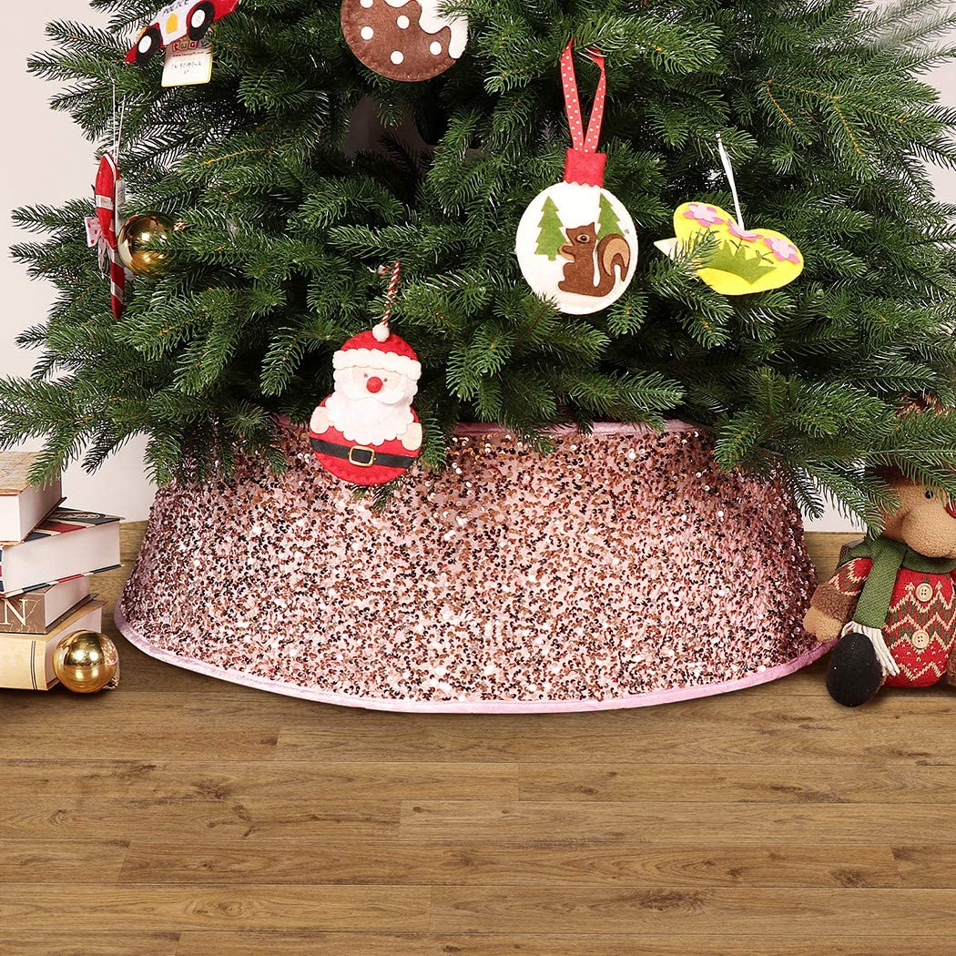 EDLDECCO Christmas Tree Collar 30 Inches Base Sequin Buffalo Check Tree Skirt Ring Plastics Sheets with Collar Cover Holiday Home Party Decor Ornaments (Pink)