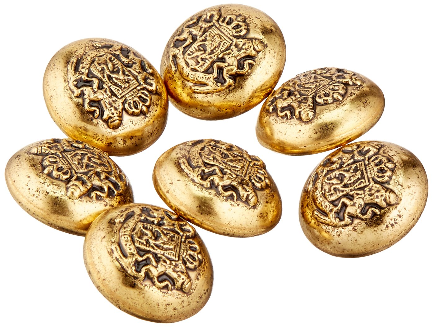 C C Metal Products 5313 Domed Twin Lion Crest Metal Button Size 36 Ligne Antique Gold 36 Pack