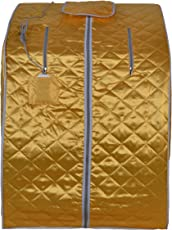ALEKO PIN15Y Personal Folding Portable Home Infrared Sauna with Folding Chair and Foot Pad for Relaxation and Weight Loss 41 x 31 x 33 Inches Gold
