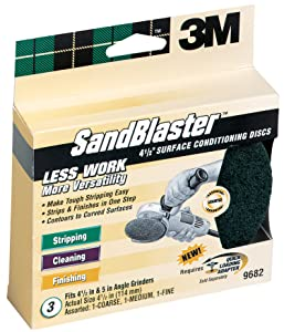 3M SandBlaster 9682 4-1/2-Inch Assorted Grits Surface Conditioning Discs, 3-Pack