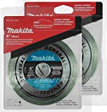 """Makita 2 Pack - 4 Inch Continuous Rim Diamond Blades For Grinders - Precise Cutting For Tile & Stone - 4"""" x 5/8-Inch"""