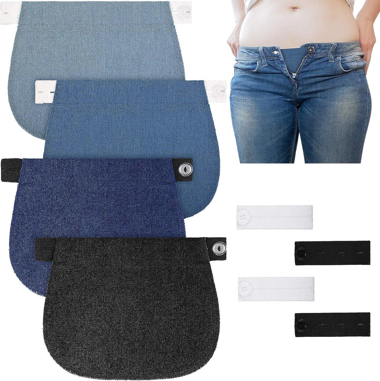 WILLBOND 12 Paquetes de Extensor de Pantal/ón de Maternidad Ajustable Extensor de Pretina de Embarazada Extensores de Cintura Extensores de Bot/ón de Pantal/ón El/ástico de Embarazo para Embarazadas