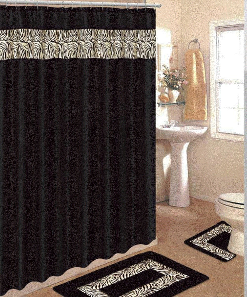 Amazon.com: 4 Piece Bath Rug Set/ 3 Piece Black Zebra Bathroom Rugs with  Fabric Shower Curtain and Matching Rings: Home & Kitchen