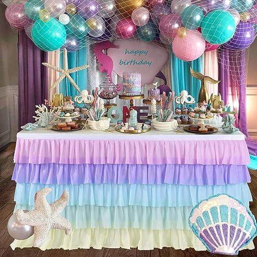 Amazon.com: Falda de mesa de tutú rosa para mesa redonda o ...
