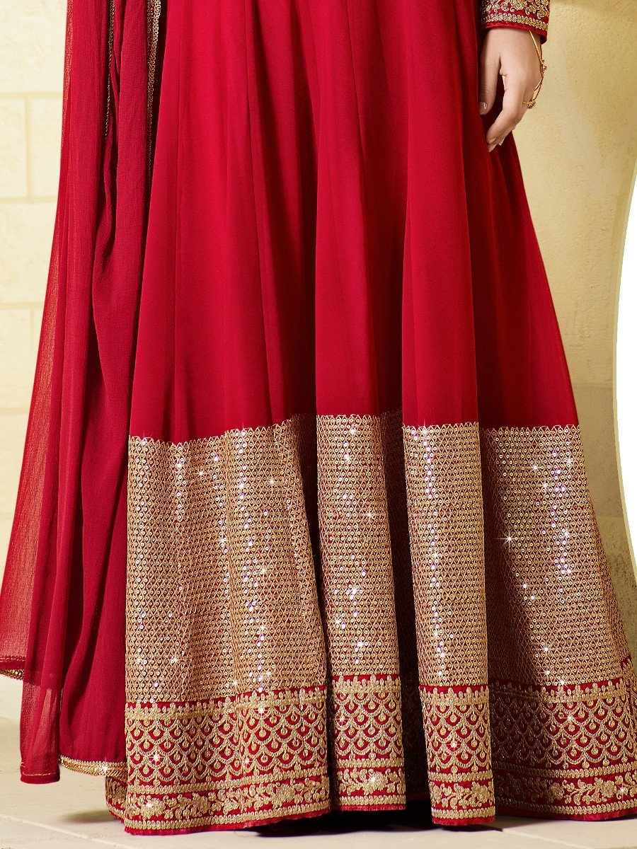 Jay Sarees Heavy Zari Sequince Work Floor Length Anarkali - Semi Stitched by JAY SAREES (Image #2)