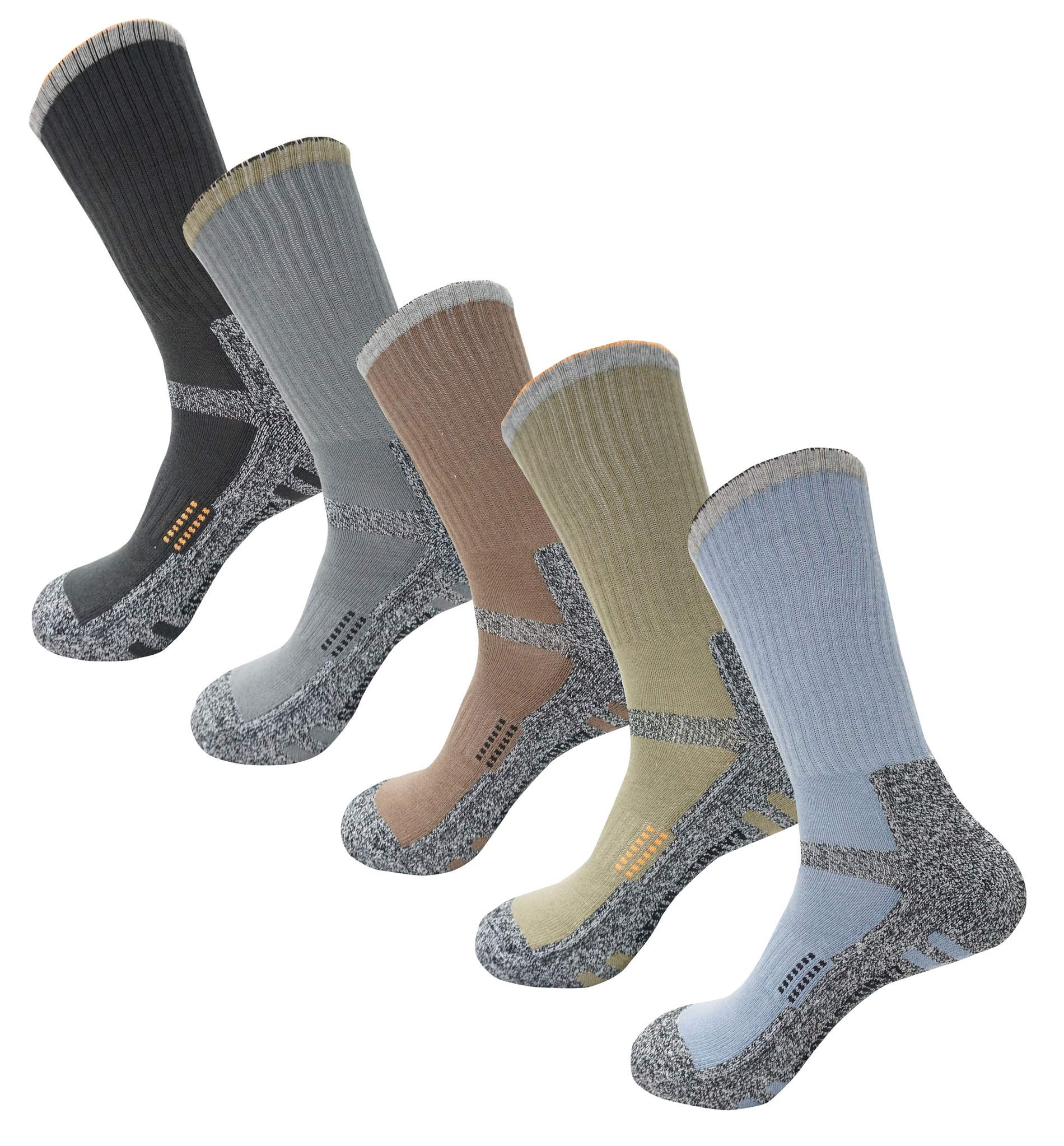 SEOULSTORY7 5Pack Men's Bio Climbing DryCool Cushion Hiking/Performance Crew Socks 5Pair New Design3 Khaki Included L3 by SEOULSTORY7