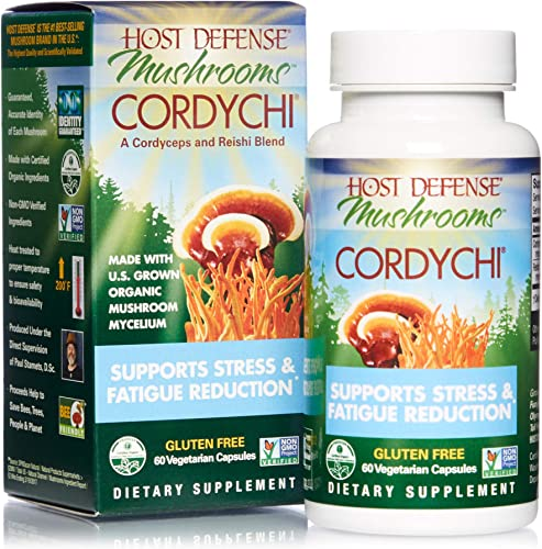 Host Defense, CordyChi Capsules, Helps Reduce Stress and Fatigue, Mushroom Supplement with Cordyceps and Reishi, Vegan, Organic, 60 Capsules 30 Servings