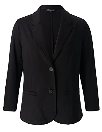 8f5dd1c2d5ae5 Chicwe Women s Plus Size Stretch Solid Classic Suit Jacket - Casual and  Work Blazer 1X Black