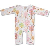 Babyushka Pink Tree Organic Long Sleeve Kimono Jumpsuit, 0-3 Months (000)