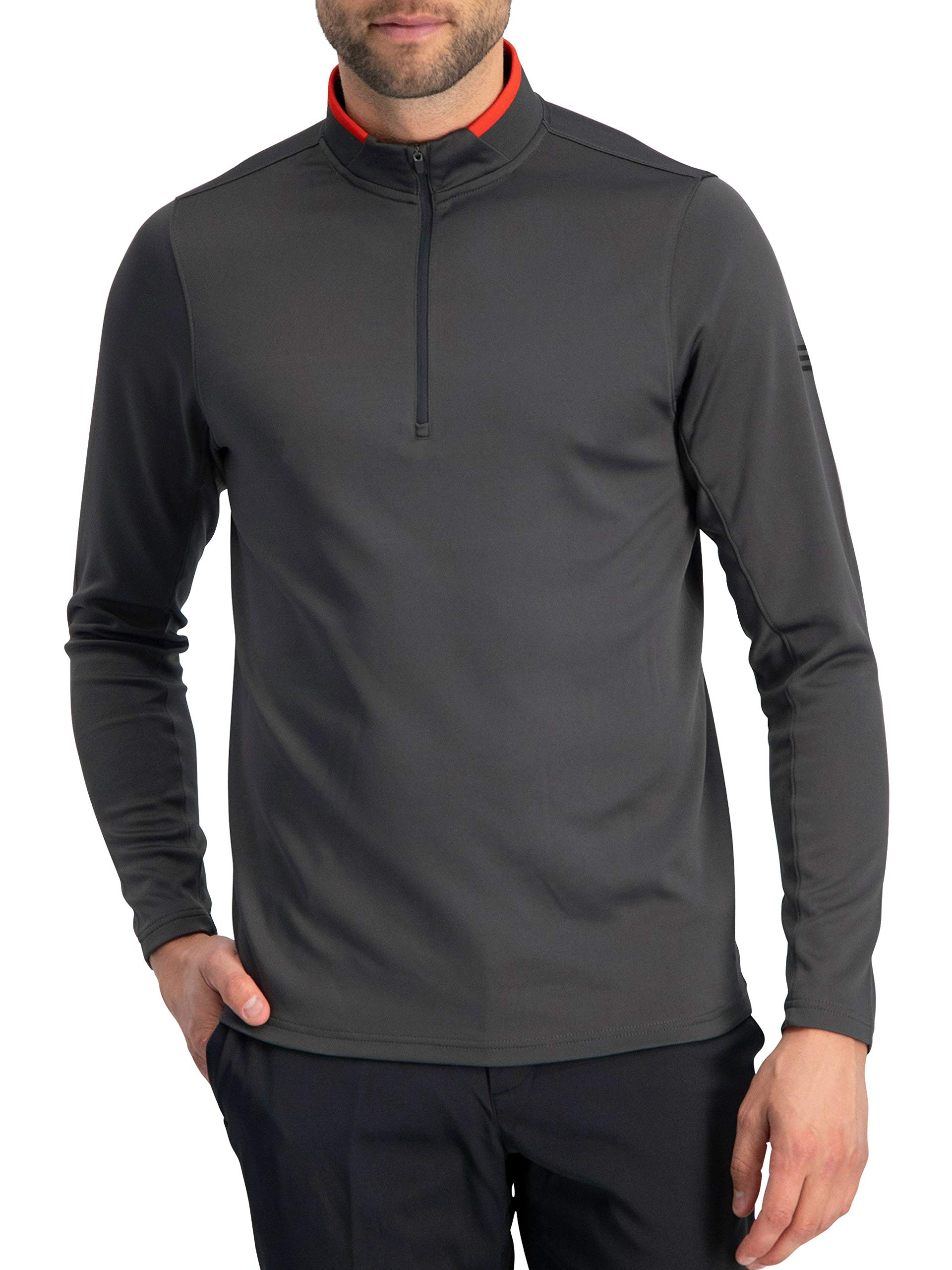 Golf Half Zip Pullover Men - Fleece Sweater Jacket - Mens Dry Fit Golf Shirts Charcoal Grey by Three Sixty Six