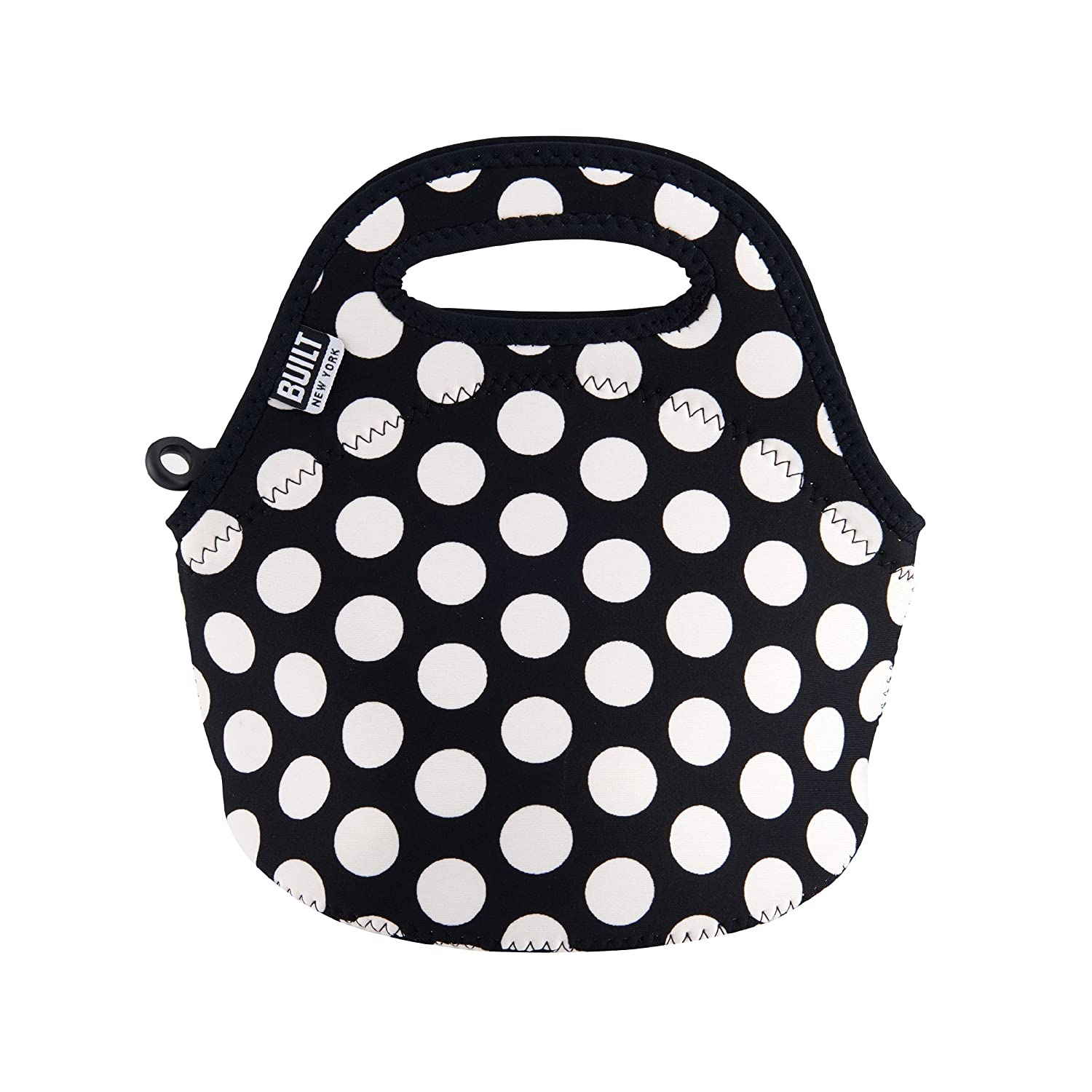 Insulated and Reusable BUILT LB10-BBW Gourmet Getaway Mini Soft Neoprene Lunch Tote Bag-Lightweight Snack Big Dot Black /& White