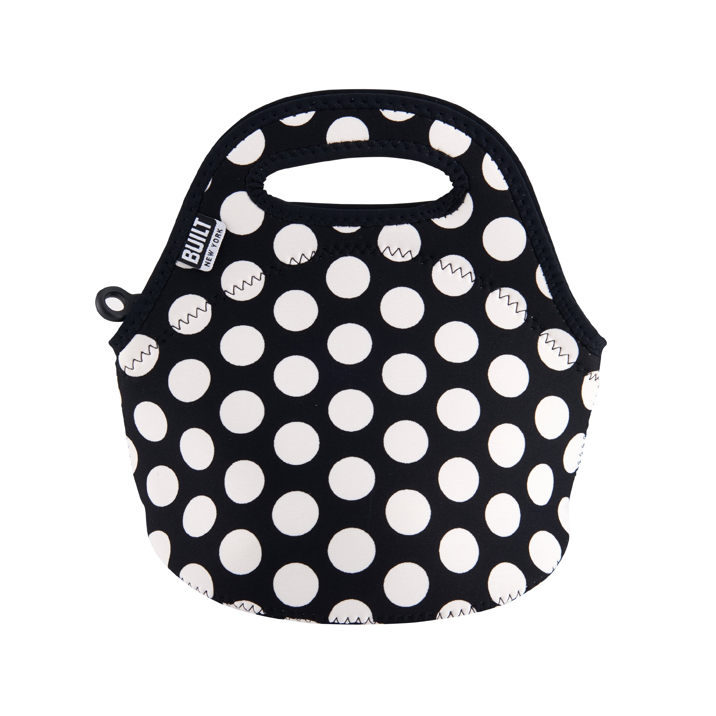 Built NY LB10-BBW Gourmet Getaway Mini Lightweight Insulated Neoprene Lunch Tote Bag, Big Dot Black & White