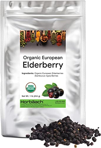 Whole Dried Organic Elderberries 1 lb Bulk Bag European Sambucus Nigra by Horbaach