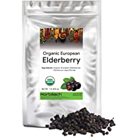 Whole Dried Organic Elderberries | 1 lb Bulk Bag | European Sambucus Nigra | by Horbaach