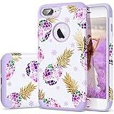 iPhone 8 Plus Case Purple,7 Plus Case,Fingic Floral Pineapple&Snowflake Thin Case Hard PC&Soft Rubber Anti-Scratch ShockProof Phone Case for iPhone 8/7 Plus,Floral Pineapple/Purple