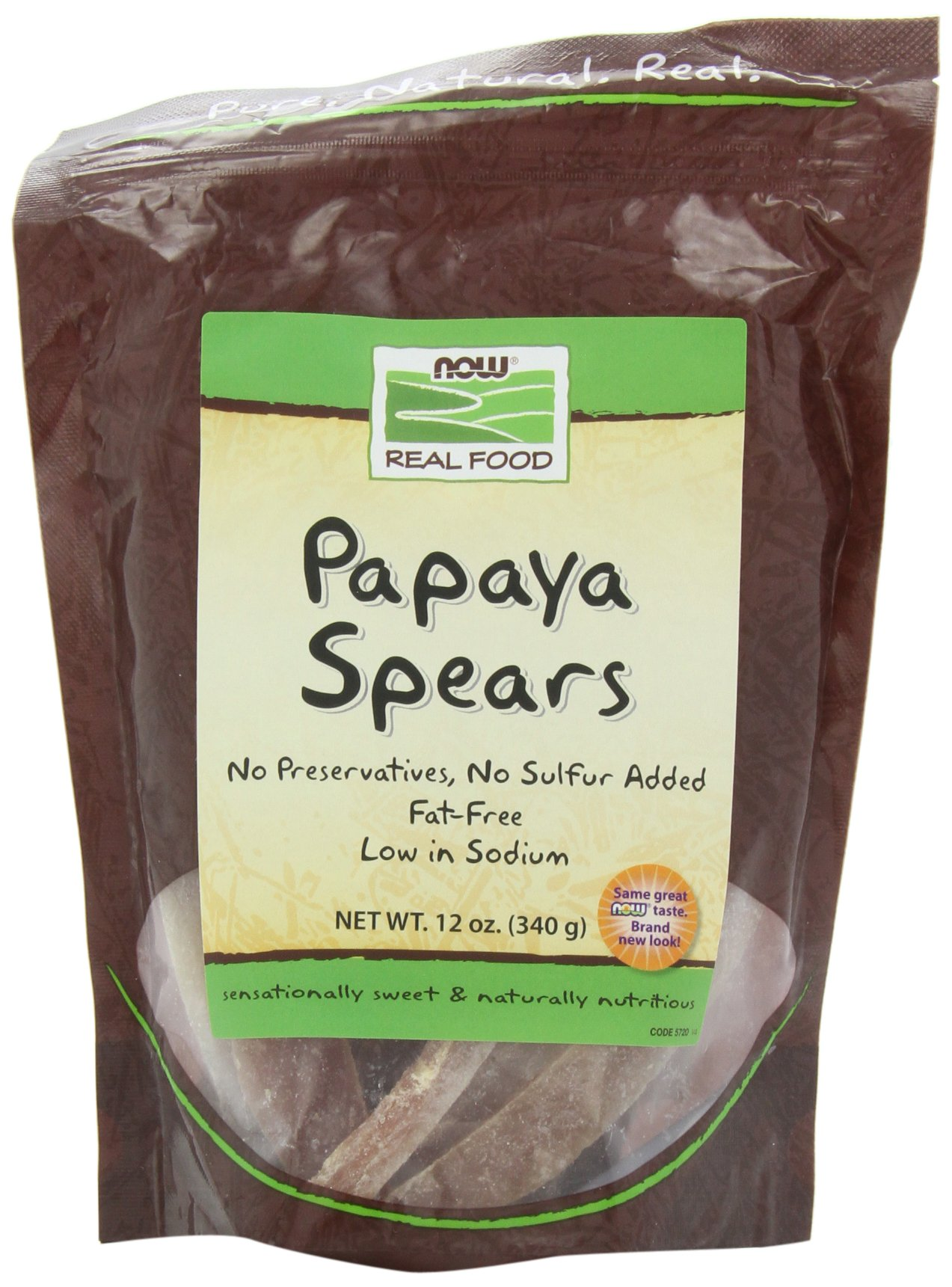 NOW Foods Papaya Spears Low Sugar,  12-Ounce (Pack of 6)