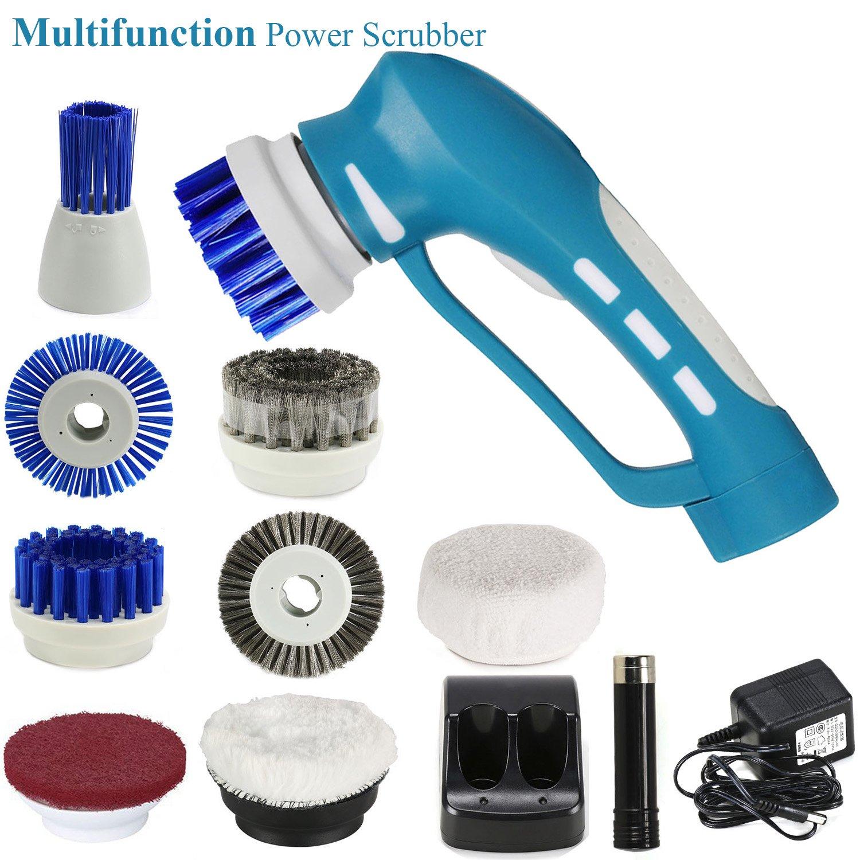 Fine Dragon Handheld Domestico Bagno Power Scrubber Brushes Cordless elettrico Ricaricabile Cleaning Scrubberwith Multiple Brush Head Set di strumenti di pulizia (blu) haoxuan FD-ESC(A)
