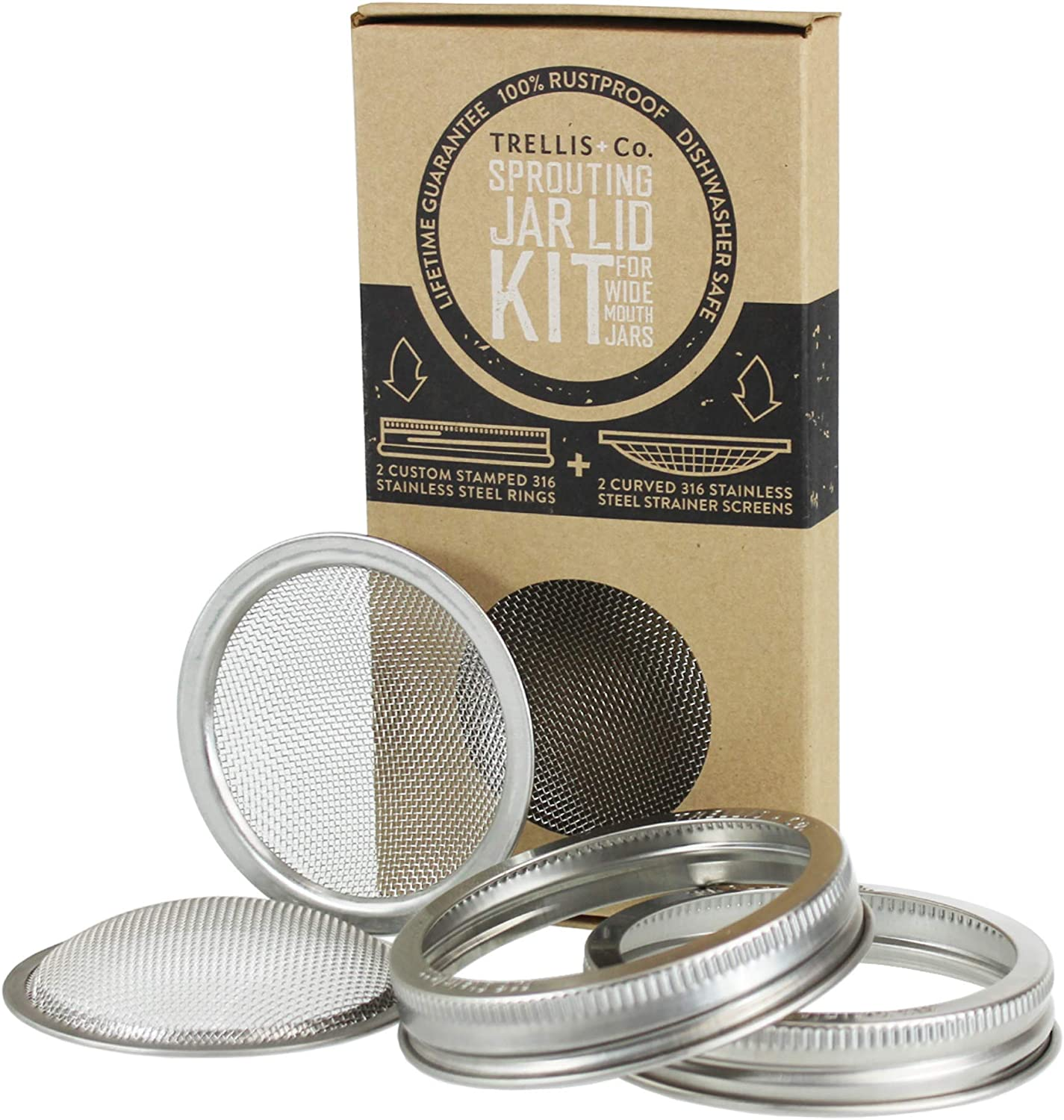Trellis Co. Stainless Steel Sprouting Kit, 2 Pack Rust Proof 316 Stainless, Curved Mesh, Fits Most Wide Mouth Mason Jars Grow Your Own Organic Sprouts From Seeds, Sprouter