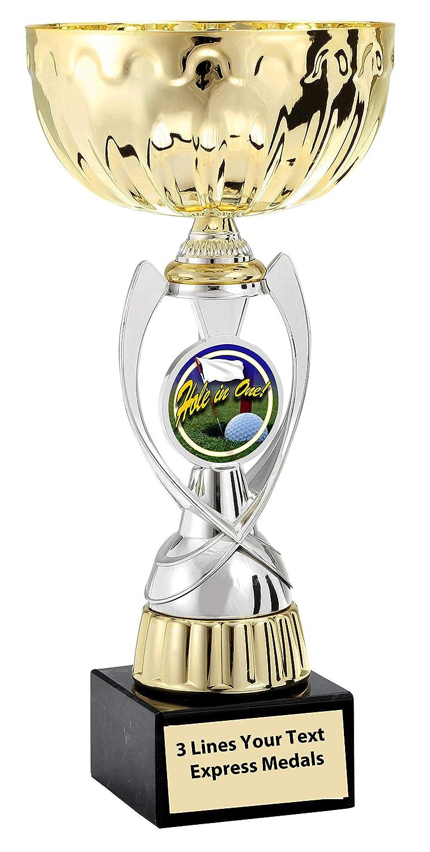 エクスプレス メダル ゴールド - シルバー ホール イン ワン メタル トロフィー プラスチック ステム カップ マーブル ベース カスタマイズ可 B07KJPCGRD