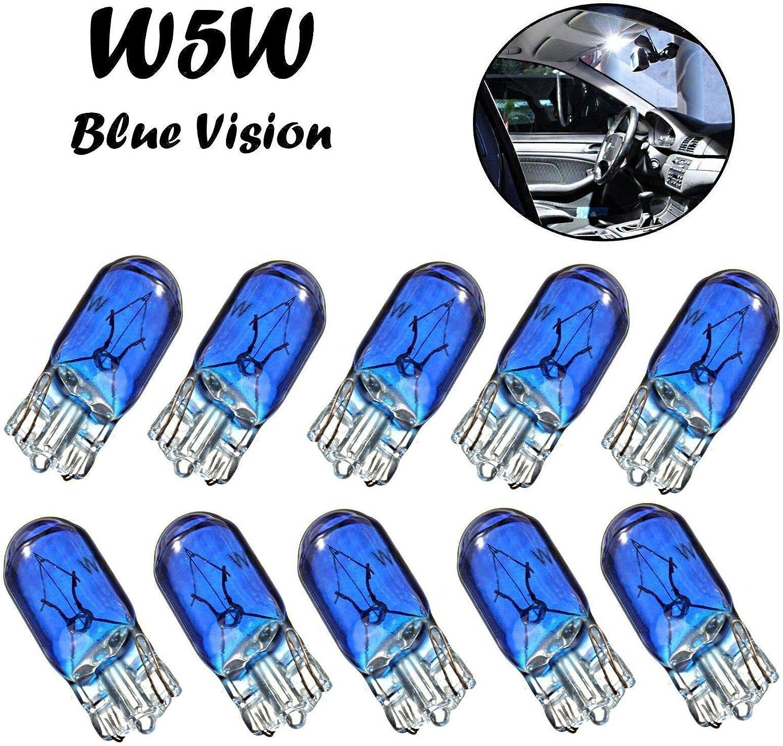 10x W5w 12v T10 W2 1x9x5d Blue Vision Super Weiß Original Jurmann Trade Ersatz Halogen Birne Für Standlicht Positionslicht Bremslicht Hecklicht Innenlicht Leselicht Blinker Seitlich E Geprüft Auto