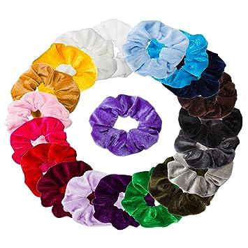 Amazon.com   Ondder 20 Pack Velvet Scrunchies Hair Bobble Elastics Hair  Scrunchy Hair Bands Headbands Women Scrunchies Bobbles Hair Ties e94d064c882