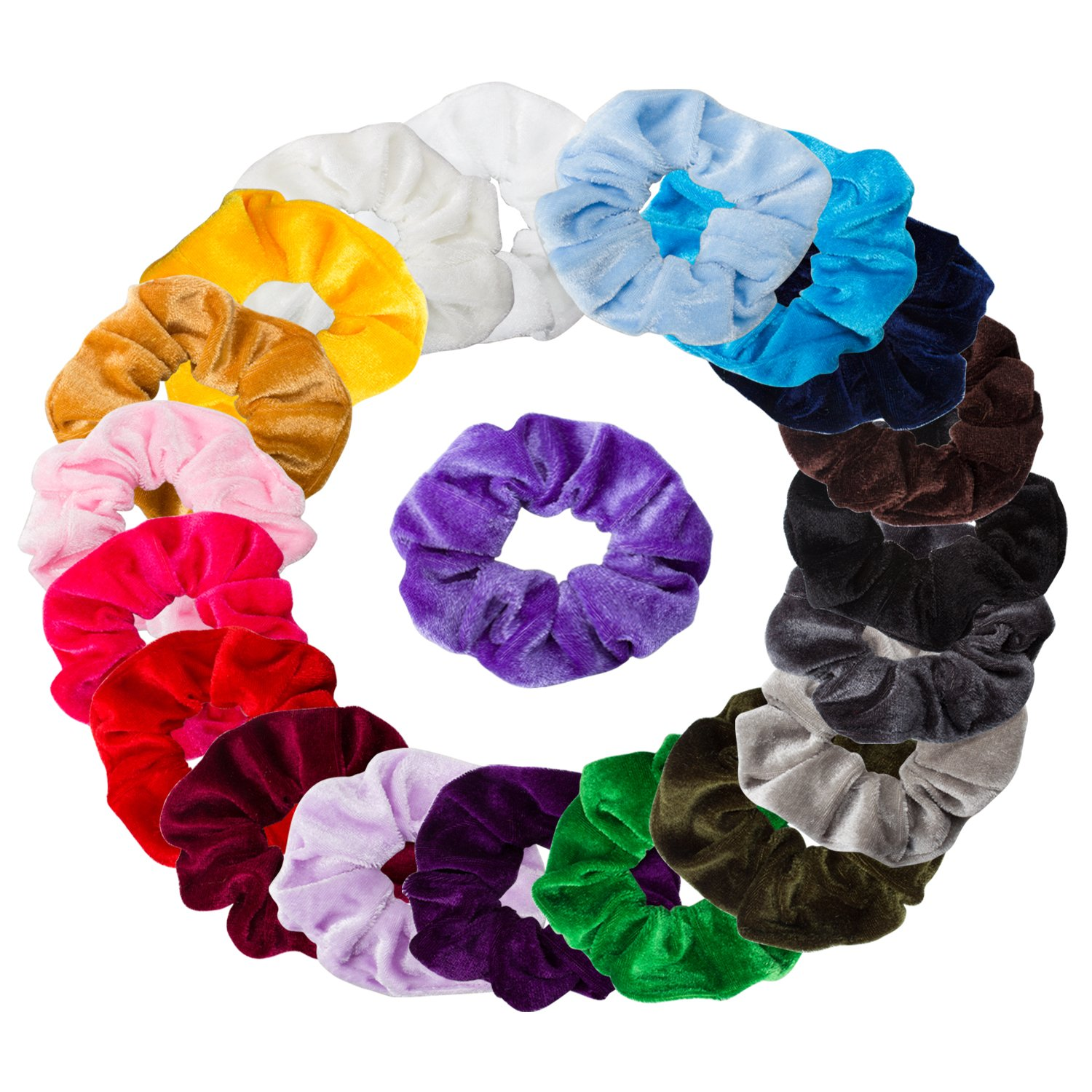 Ondder 20 Pack Velvet Scrunchies Hair Bobble Elastics Hair Scrunchy Hair Bands Headbands Women Scrunchies Bobbles Hair Ties, 20 Assorted Colors
