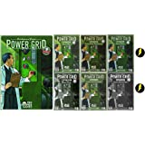 Power Grid Game Bundle of Base Game Plus Six Expansions and 2 Lighting Bolt Buttons