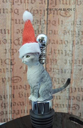Cat Lover Tabby Santa Wine Bottle Stopper