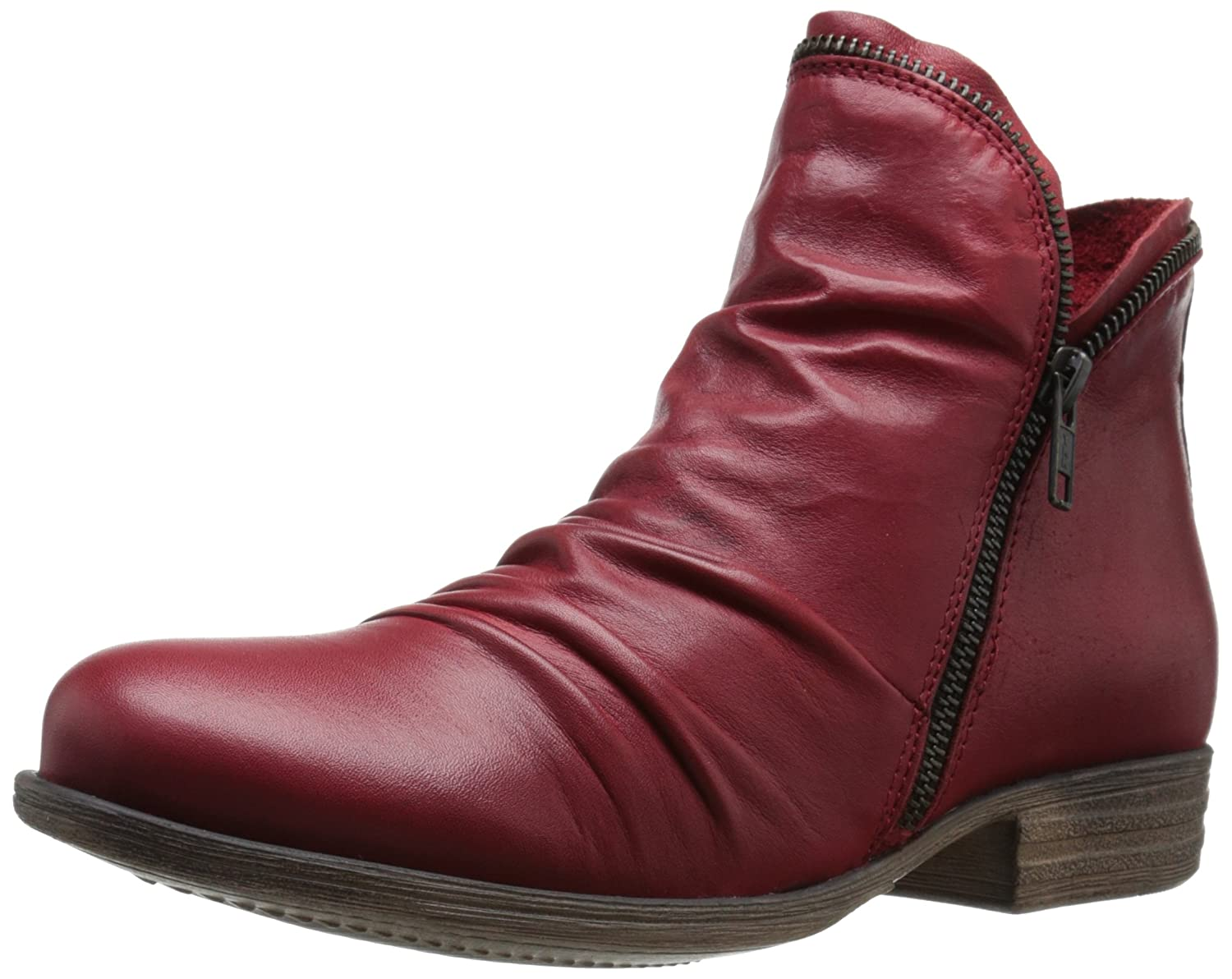 Red Miz Mooz Women's Luna Leather Ankle Boot with Zipper Accent