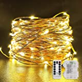Fitybow 66Ft 200 LEDs Fairy String Lights Battery Operated Outdoor Waterproof 8 Modes Dimmable Remote Control Christmas Decor